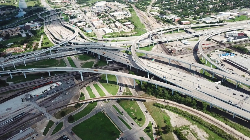 Interchange Highway Overpass and Junction on Busy Day in Fort Worth Dallas Metropolitan Area, Bird Eye Aerial View