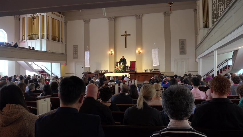 Boston, Massachusetts / USA - APRIL 28, 2019: Sunday Church Service in the Boston Park Street Church.