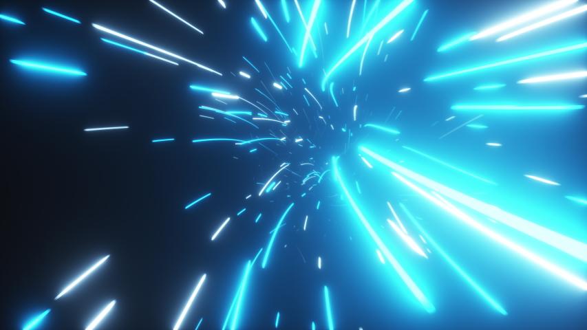 Flying in an abstract bright neon technology tunnel. Modern light. Hyper jump in data space.  3d render | Shutterstock HD Video #1039629542