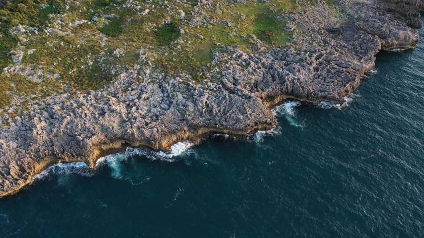 Aerial view of coast in Islares, Cantabrian Sea, Cantabria, Spain, Europe	  #1039648733