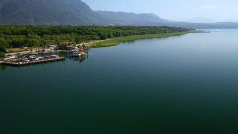 Drone footage over Koycegiz Lake in Koycegiz City, Mugla Turkey.