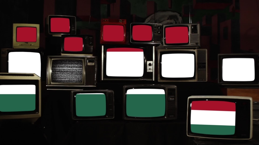 Hungary Flag on 80s and 90s Televisions. Zoom In.  | Shutterstock HD Video #1039664516