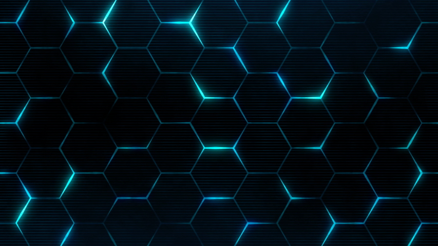 Blue hexagon pattern for futuristic grid concept. Abstract technology background for cyberspace surface. Seamless loop. | Shutterstock HD Video #1039665008