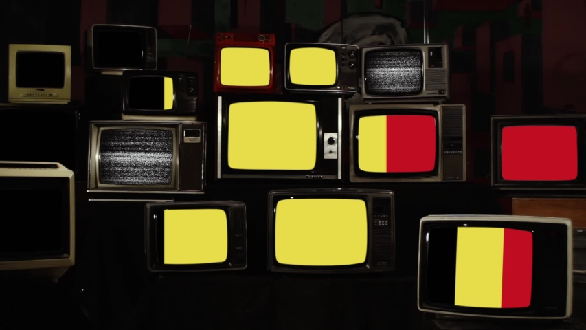 Flag of Belgium and Retro TVs. Zoom In. | Shutterstock HD Video #1039667540