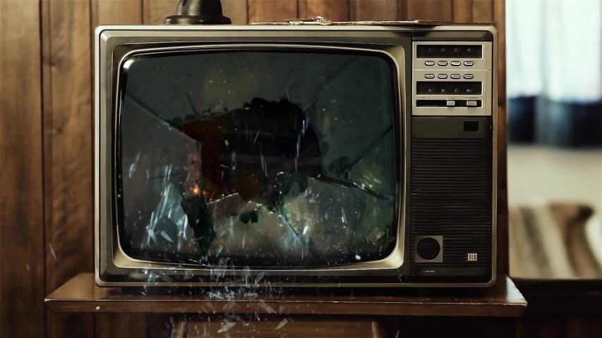 "Old TV Set with Green Screen Explodes. You can Replace Green Screen with the Footage or Picture you Want with ""Keying"" effect in AE (check out tutorials)."