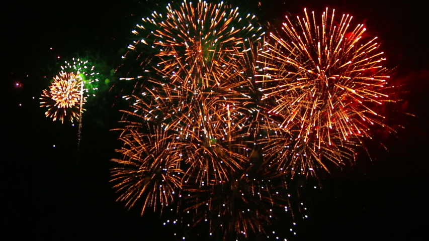 Exciting Firework with Sound Footage #1039708952