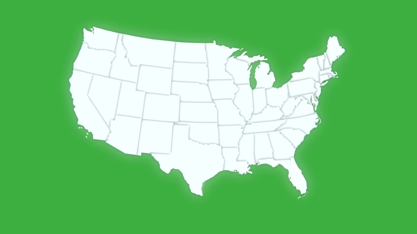 Map of United States of America showing different states. Animated usa contiguous lower 48 u.s. state map on an isolated green screen chroma key background. 4K animation