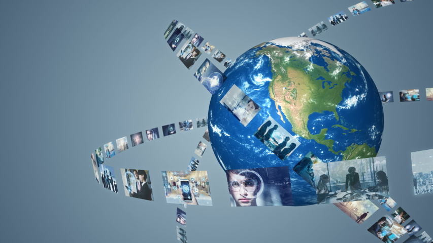 Global communication network concept. Social media. Streaming video. Subscription service. Elements of this image furnished by NASA. 3D rendering. | Shutterstock HD Video #1039716575