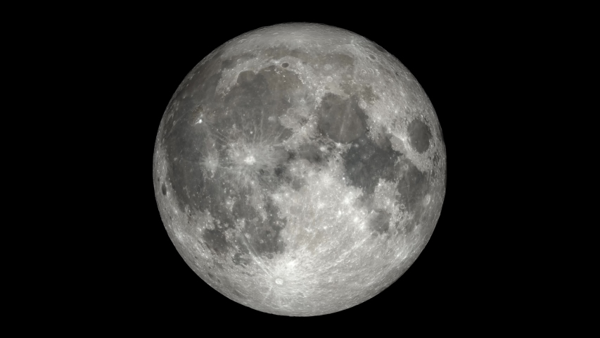 Moon Phases - North Pole time-lapse video. Extremely detailed including libration and position angle. Consistent exposure with no Earthshine. | Shutterstock HD Video #1039717844