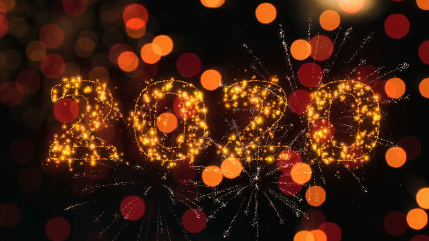 Happy new year 2020 sparkling year lettering with fireworks particles background. Merry Christmas and Happy New Year background. | Shutterstock HD Video #1039718600
