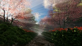 Beautiful garden alley with sun shinning through blossom cherry trees, 4K