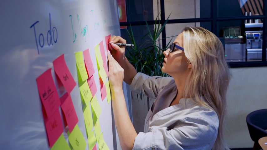 Project management and schedule planning, concept. A young woman takes notes and plans the structure of the project. | Shutterstock HD Video #1039720121