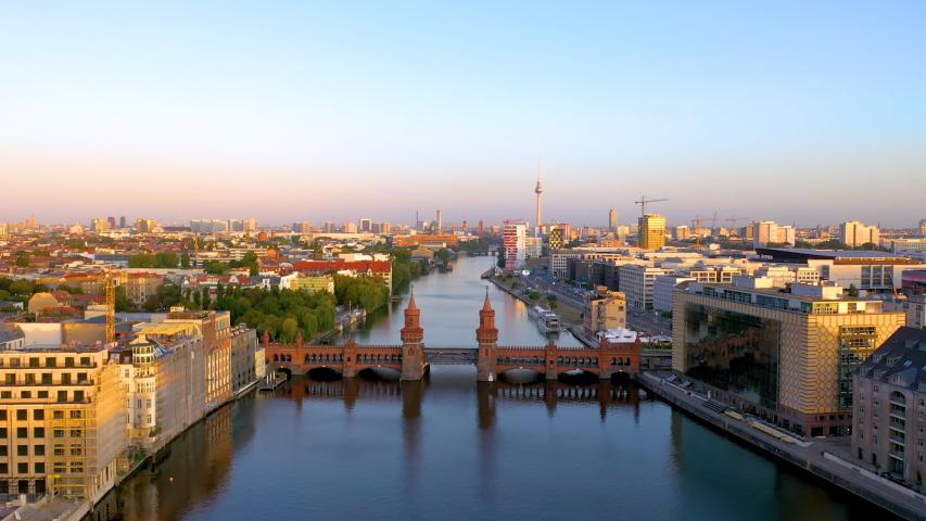 East Berlin Kreuzberg Oberbaumbruecke. Berlin drone video from sky, aerial berlin skyline view from above.