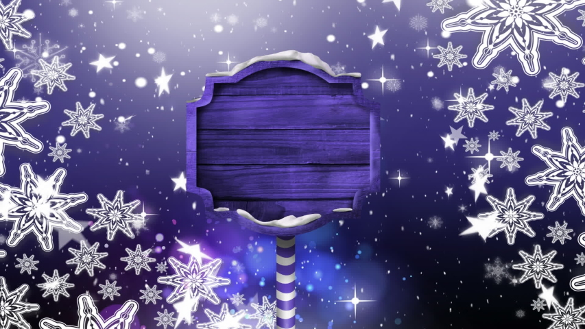 Animation of purple wooden sign board, snowflakes and stars falling in the background | Shutterstock HD Video #1039742726