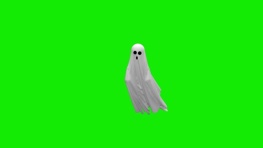 Cartoon Flying white Ghost on an green screen