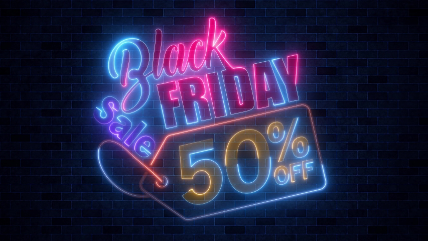 Black Friday 50 Percent Off Sale Colorful Neon Glow Bright Light Animation With Dark Brick Tiles Wall Texture Background