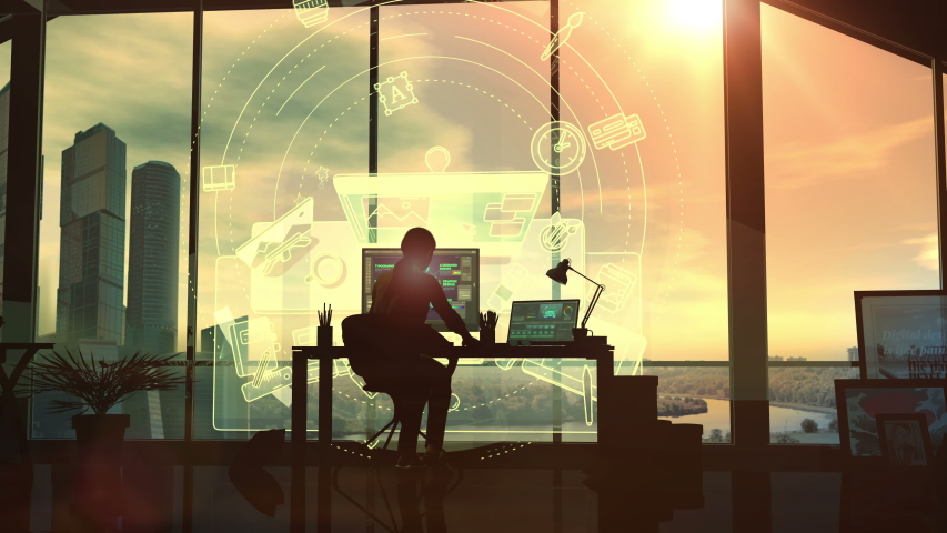 In the office, the silhouette of a female designer at the desk. 3D render #1039756976