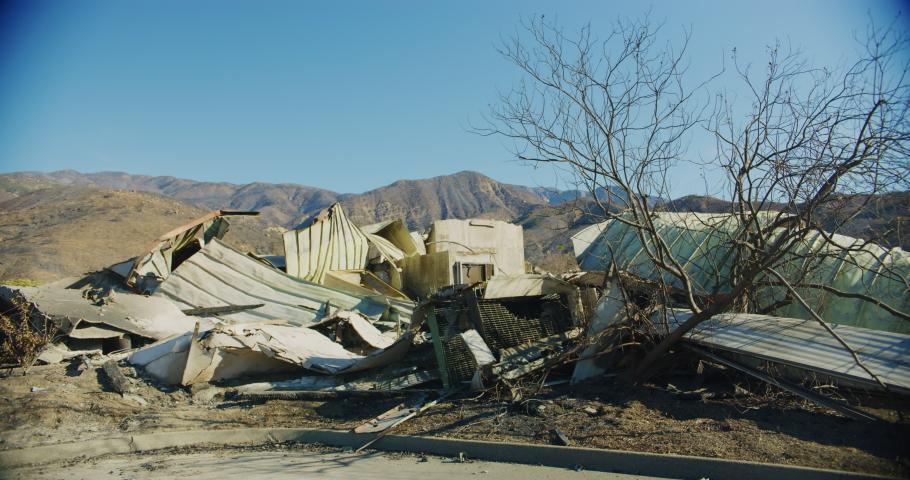 Fire damage caused by Thomas Fire in Ojai Dec 2017. Ventura county, California