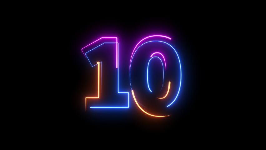 Neon bright glowing countdown timer from 10 to 0 seconds