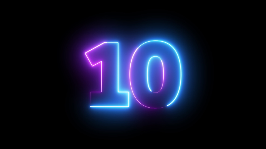 Neon bright glowing countdown timer from 10 to 0 seconds | Shutterstock HD Video #1039788182