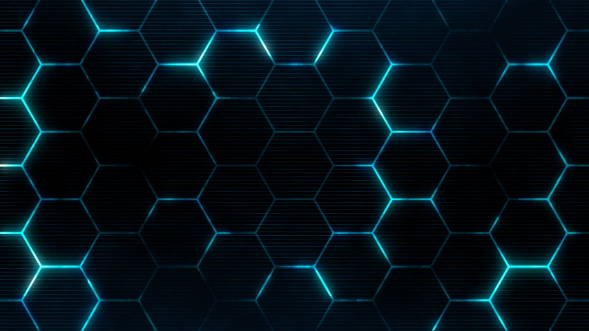 Futuristic surface concept with hexagons. Trendy sci-fi technology background with hexagonal pattern. Seamless loop. | Shutterstock HD Video #1039789823
