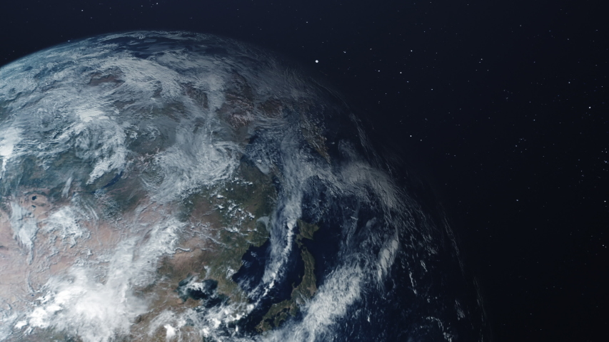 Space view of the planet Earth. Sunlight gradually fills the surface of the planet, changing night to day. Bright night lights of cities are replaced by cloudy day views. | Shutterstock HD Video #1039803704