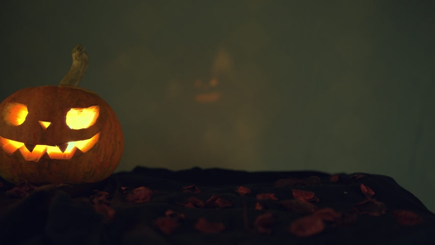 Pumpkin and a second pumpkin with reflected light in the background. Grains of roses on the ground. Camera movement to the left. Halloween art design. | Shutterstock HD Video #1039809689