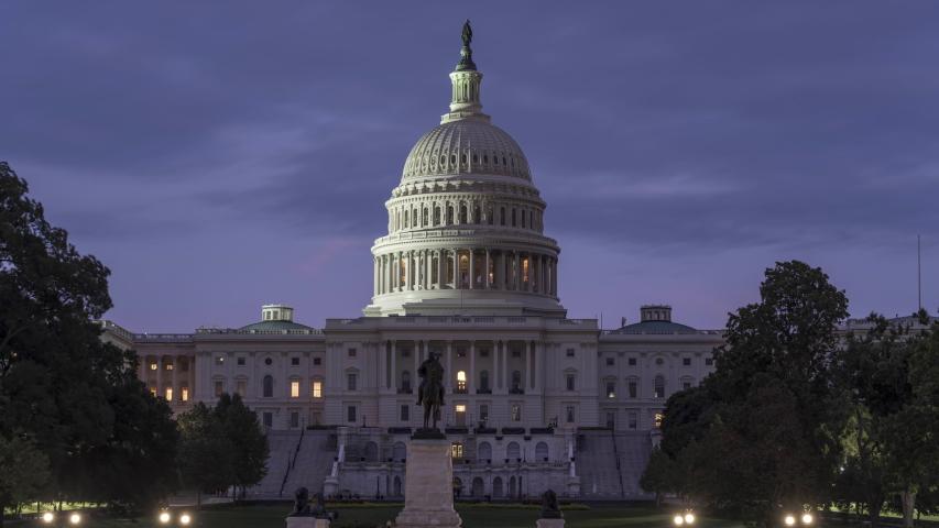 Washington, DC United States Capitol Building Timelapse day to night.