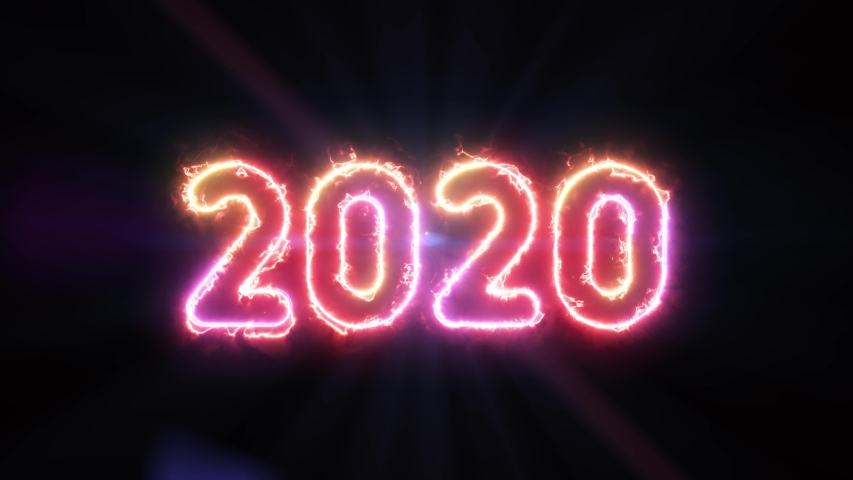 2020, colorful energy text glowing in the dark and lens flare light rays in background	 | Shutterstock HD Video #1039827071