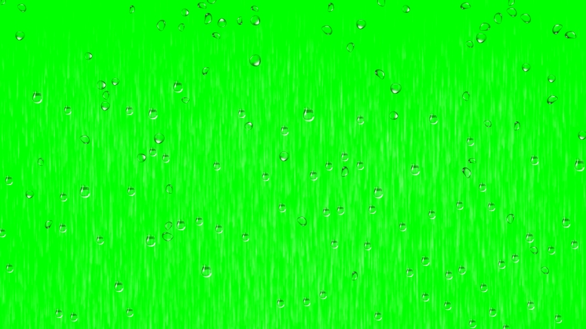 Rain and rain drops with green screen background