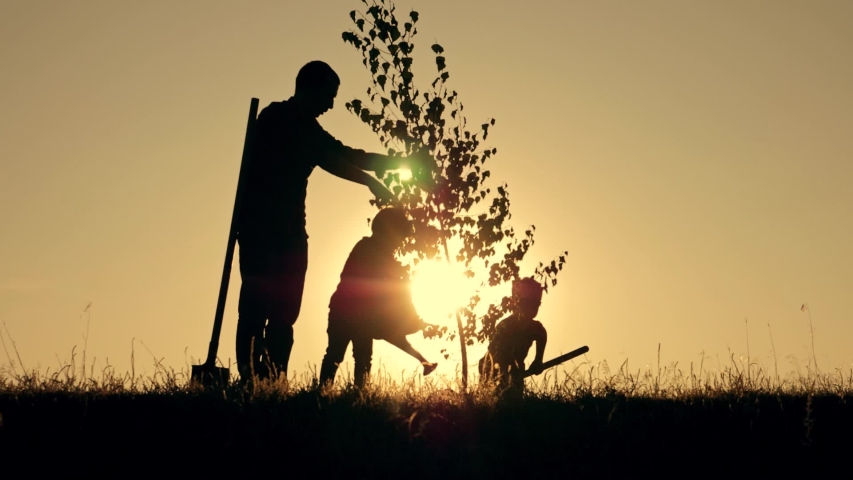 Silhouette of happy family at sunset plants tree. Senior farmer with children is planting tree. Silhouette of farmer family at sunset. Happy family with shovel and watering pad planting plant in soil