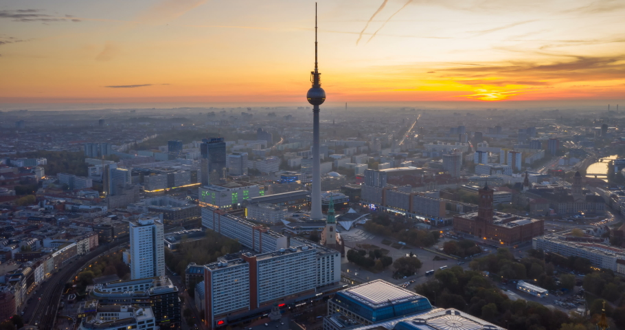 22 OCTOBER 2019, Berlin, Germany. Berlin Skyline City Panorama with Berlin TV Tower, sunset and traffic - famous landmark in Berlin, Germany, Europe.