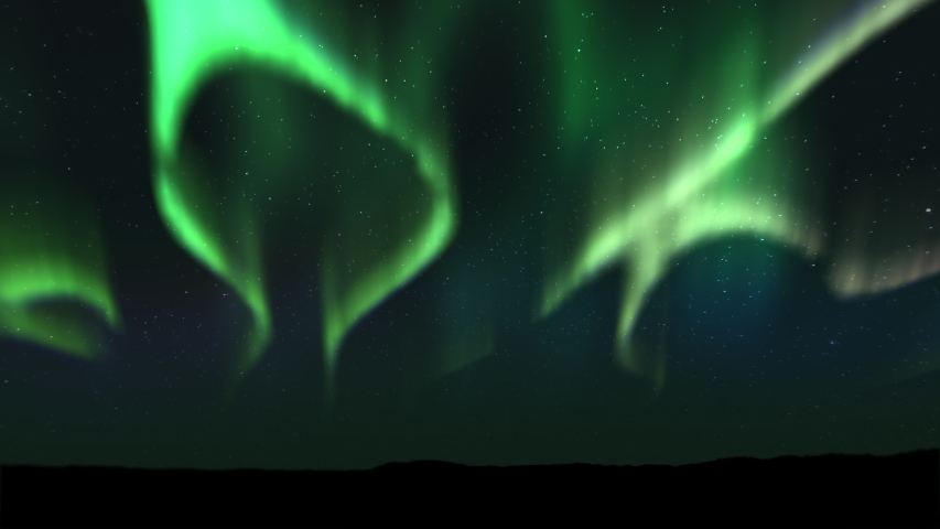 Animations of spectacular Bright realistic Aurora Borealis landscape. Time lapse clip of Polar Light or Northern Light in the night sky. The movement of the star sky on the background