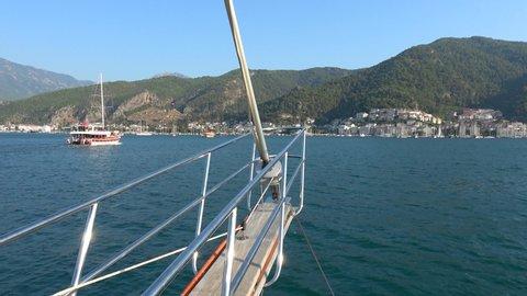 Fethiye, Turkey - 25th of July 2019: 4K Bow of the ship heading to the Fethiye harbor