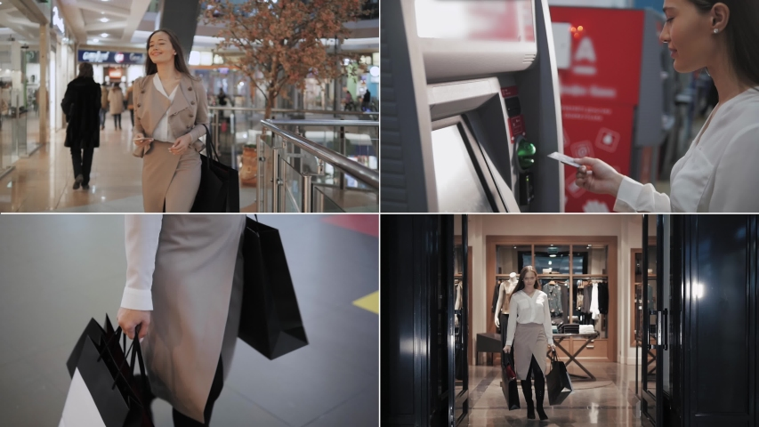 Collage of Shopping woman smiling with bags talking on the phone in mall withdrawal cash from atm. Beautiful girl with smartphone in shopping center multi camera. Royalty-Free Stock Footage #1039964012