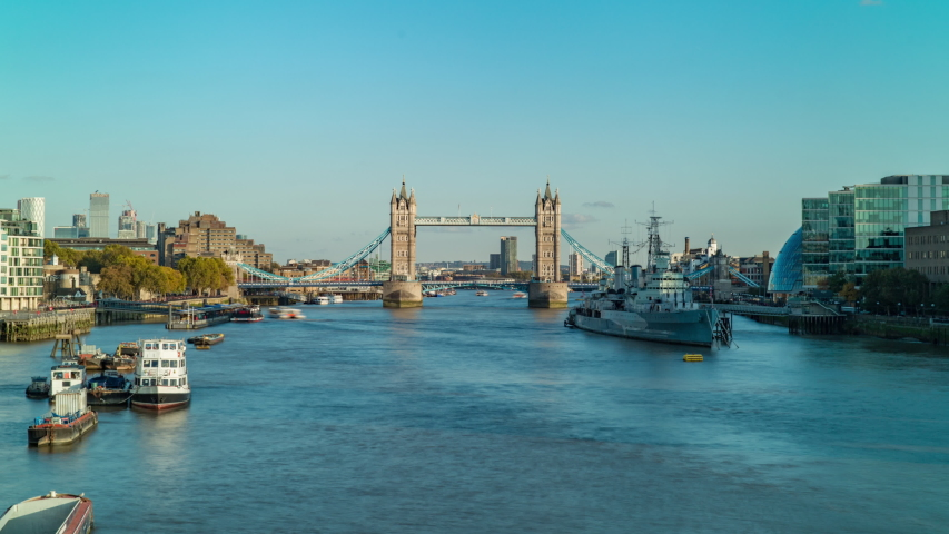 Tower Bridge and Thames River Hyperlapse, London | Shutterstock HD Video #1039967954