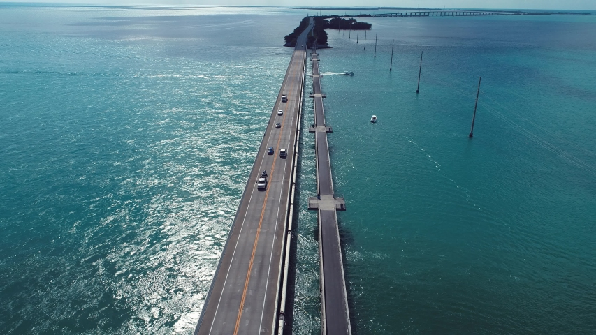 Aerial view of famous bridge and islands in the way to Key West, Florida Keys, United States. Great landscape. Vacation travel. Travel destination. Tropical scenery.