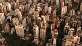 A captivating aerial view tracking above the buildings of Sao Paulo shot in 4K. Sao Paulo. Brazil.