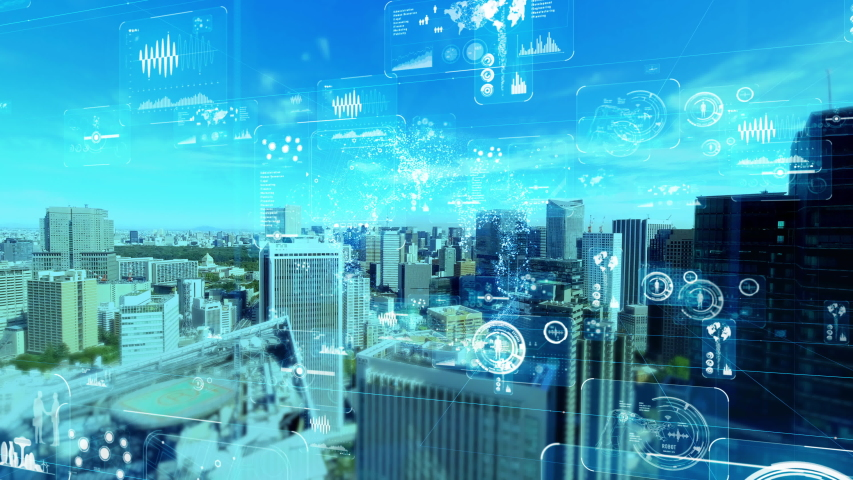 Smart city and communication network concept. 5G. LPWA (Low Power Wide Area). Wireless communication. Royalty-Free Stock Footage #1040014856