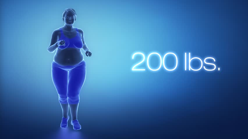 Running fat obese woman for healthy slim lifestyle