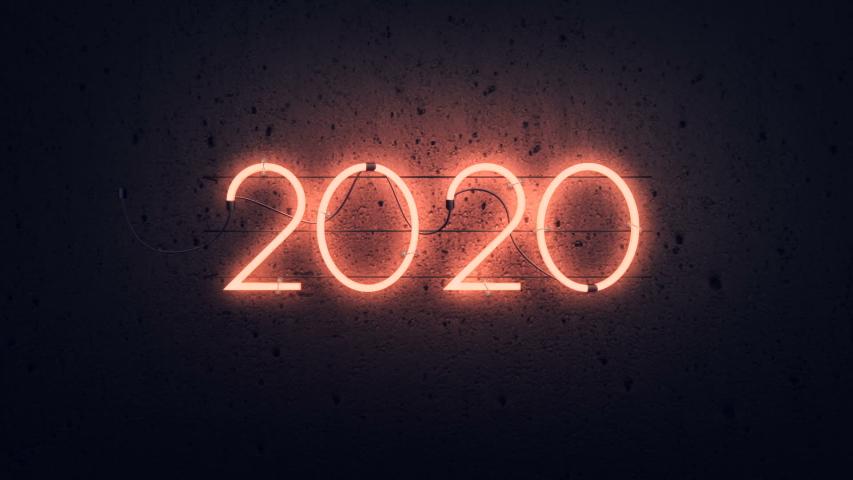 2020 flickering neon sign, zoom in