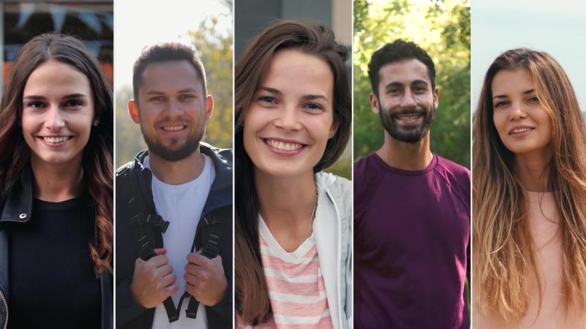 Collage portrait of mix raced young professionals or students, happy young international group, man and woman smiling, happy people | Shutterstock HD Video #1040041364
