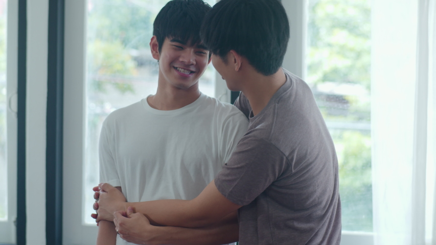 Asian gay couple standing and hugging near the window