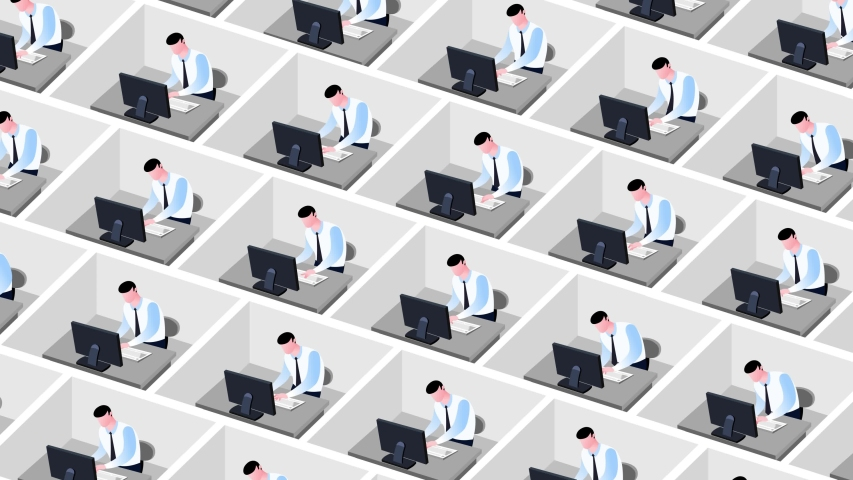 Business style cartoon animation of office employees in cubicles. Cartoon workers in a big office. They are working all day with no break. Seamles loop of the futuristic society. Seamless loop.