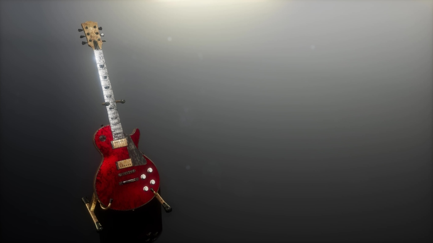 loop electric guitar in the dark with bright lights