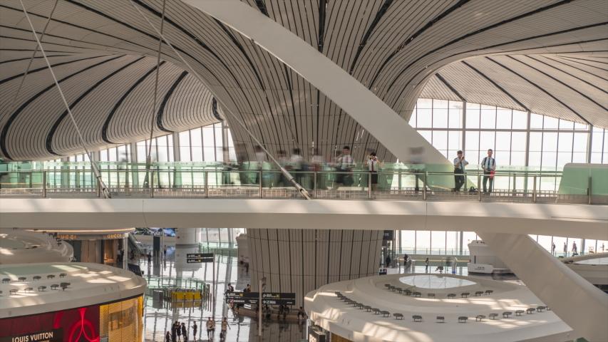 Beijing,China,Oct 30 2019. Hyperlapse. Interior View of Beijing Daxing International Airport,China