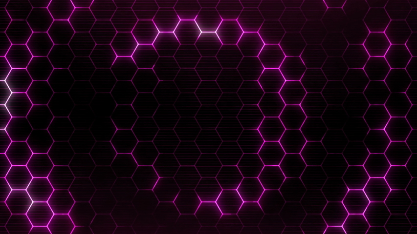 Hexagonal wave from center. Futuristic technology background with hexagons pattern. Seamless loop.