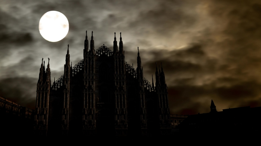 Milan: Gothic Cathedral in Piazza del Duomo, Time Lapse by Night with Full Moon and Dark Silhouette of Famous Landmark in Fashion and Design Capital of the World, Italy   Shutterstock HD Video #1040082113