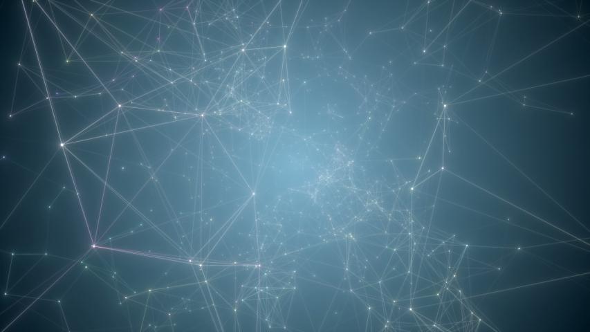 Movement through plexus nodes in blue space. Plexus stylish dynamic digital wallpaper. #1040087393