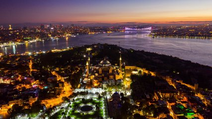 Hyper lapse of Istanbul city at sunrise in Turkey.
